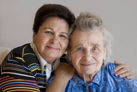 elderly woman and her daughter Stock Photo - 1787980