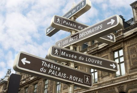 guide post in Paris photo
