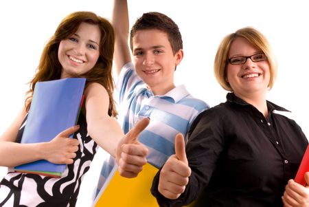 three young teenagers giving the thumbs-up sign. Stock Photo - 3150264