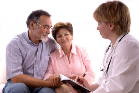A senior couple visiting a doctor photo