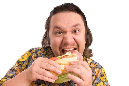 overeat: man eats a sandwich