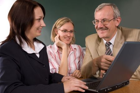 students and professor in computer classroom Stock Photo - 3803372
