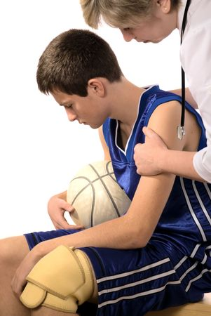 doctor giving first aid the hurt sportsman Stock Photo - 3883338
