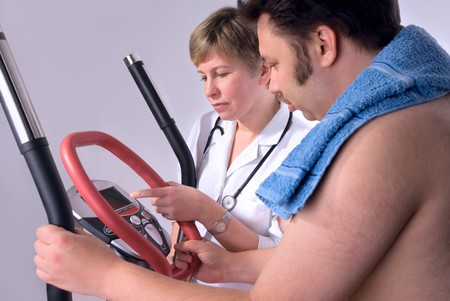 doctor checks the medical result of training  photo