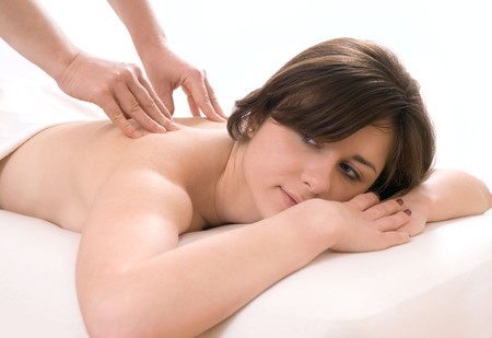 girl getting a back massage in the spa salon Stock Photo - 4074087