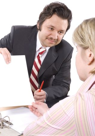 persuade: Woman  talking to Insurance Agent