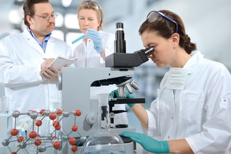 group of scientists working at the laboratory Stock Photo - 4979023