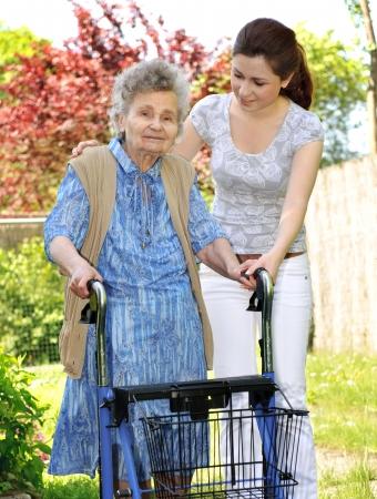impairment: Senior  woman walking