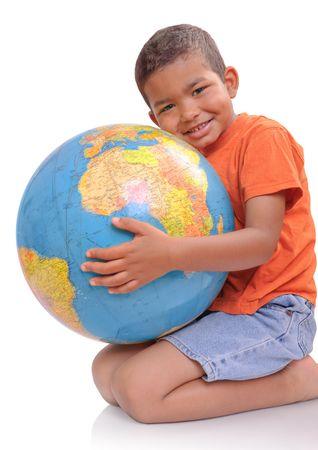 Child  holding  a globe   photo