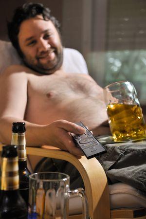 dependency: TV addicted man