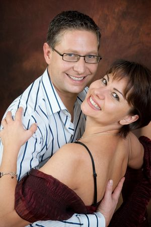 tangoing: Attractive couple dancing the night away