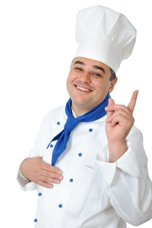 portrait of a handsome cook isolated over white photo