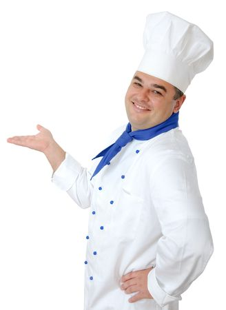portrait of a handsome cook isolated over white Stock Photo - 6061508