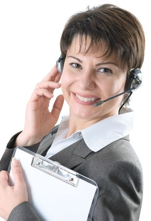 Call center woman with headset Stock Photo - 6221054