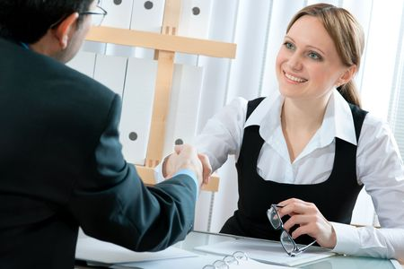 handshake while job interviewing Stock Photo