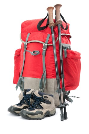 hiking boots: hiking equipment, rucksack and boots   Stock Photo