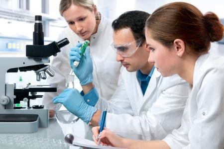 investigador cientifico: Grupo de estudiantes que trabajan en el laboratorio