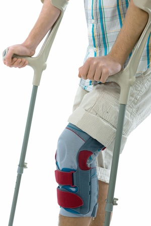 orthopedic: teenager on crutches