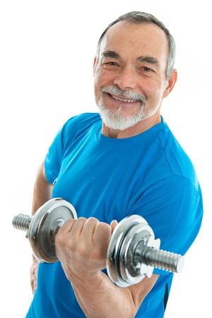 senior man lifting weights during gym workout photo