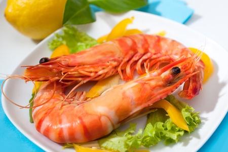 gamba: Langostinos con ensalada en un plato