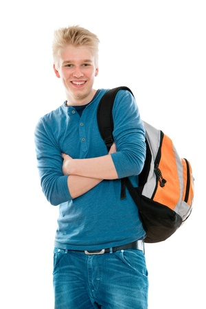 high school student smiling. Isolated on the white background Stock Photo - 9318674