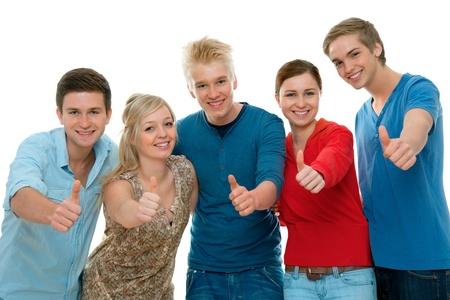 Teenagers studying: Grupo de estudiantes de secundaria levantando los pulgares y sonriente Foto de archivo