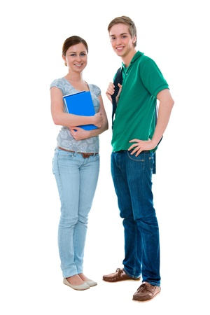 high society: couple of high-school students standing  against white background