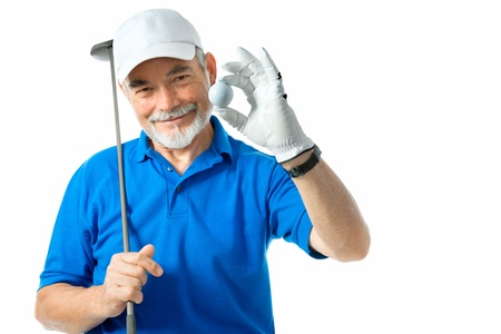 golf cap: golfer isolated on a white background Stock Photo