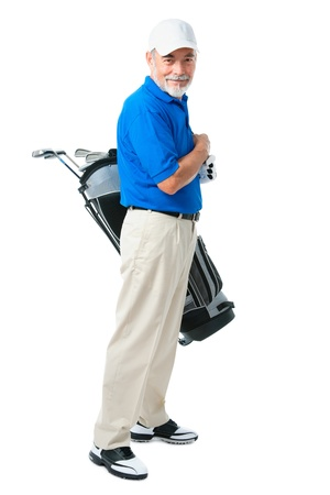 pastime: golfer isolated on a white background Stock Photo