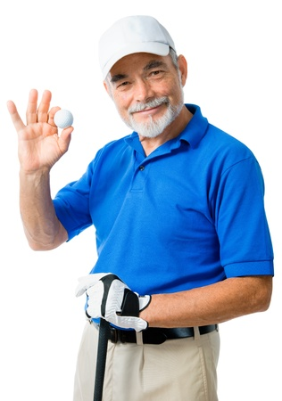 golfing: golfer isolated on a white background Stock Photo