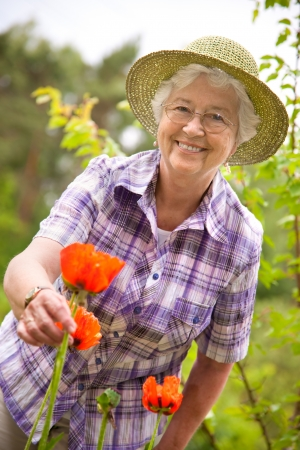 person outside: Portrait of a attractive senior woman gardening