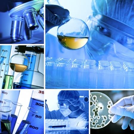 biotecnologia: Laboratorio diversos relacionados con imágenes en un collage Foto de archivo