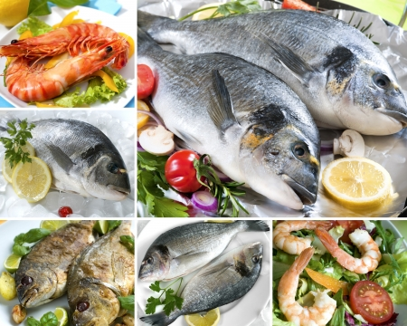 raw fish: collage from photographs of different seafood product Stock Photo