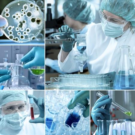 bioteknik: Olika laboratorierelaterade bilder i ett collage