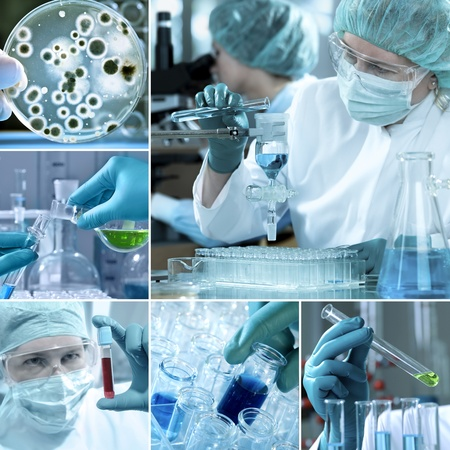 Various laboratory related images in a collage photo