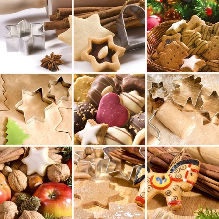 baked goods: Christmas cookies, spices and baking utensils