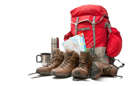expeditions: hiking equipment. Concept for family hiking