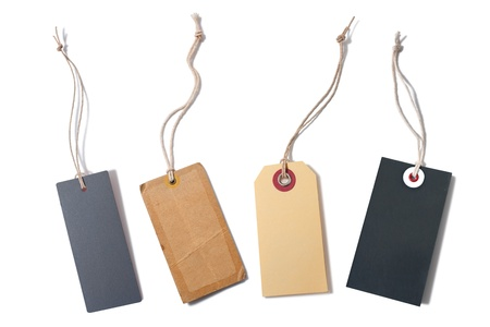 luggage tag: set of the blank tags tied with string