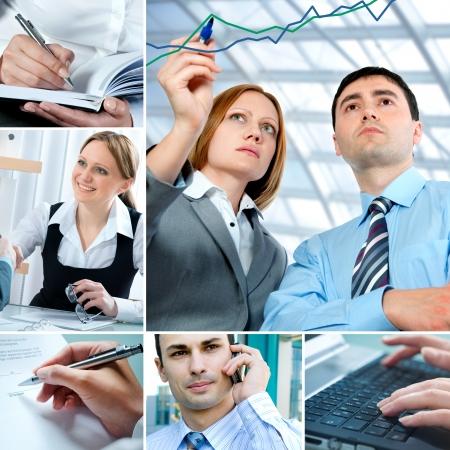 network marketing: Collage de negocios Foto de archivo