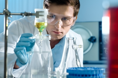 scientists: scientist working at the laboratory  Stock Photo