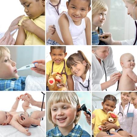 pediatra: Varios niños imágenes relacionadas con la salud en un collage