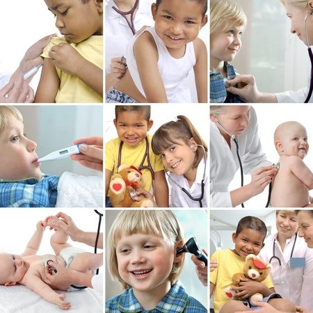 multiracial children: Various childrens healthcare related images in a collage