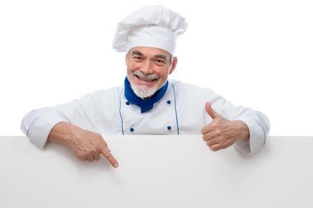 gorro chef: Presentaci�n Chef. Aislado en el fondo blanco