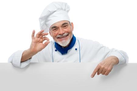 chef cocinando: Chef presenta. Aisladas sobre fondo blanco Foto de archivo