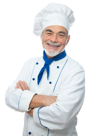 Portrait of a handsome chef isolated on white photo