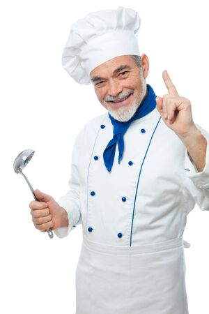 Portrait of a handsome chef isolated on white Stock Photo - 12351097
