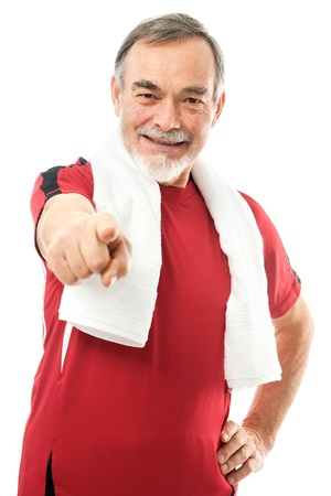 Senior man with a towel around neck pointing with his finger Stock Photo - 12351114
