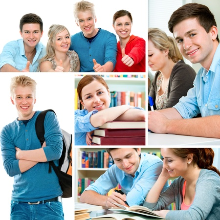 Various education related images in a collage photo