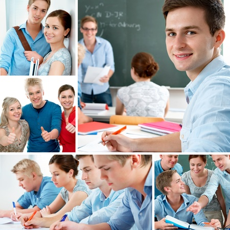 exams: Various education related images in a collage