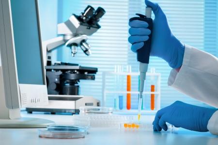 pipette: T�cnico de laboratorio inyecci�n de l�quido en una placa de microtitulaci�n Foto de archivo